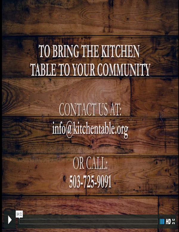 Contact us to bring the Kitchen Table to your community