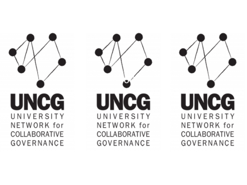 Row of logos for the University Network for Collaborative Governance, includes a graphic of connected dots above the letters UNCG