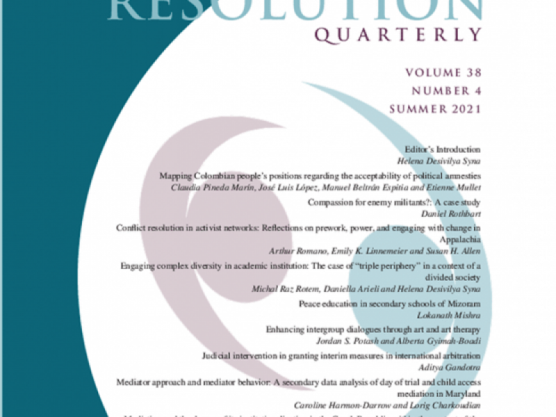 Journal Cover with white half circle and teal blue background. There is text of the articles' titles and authors inside the white circle and a logo image of two crescents with circle facing each other.